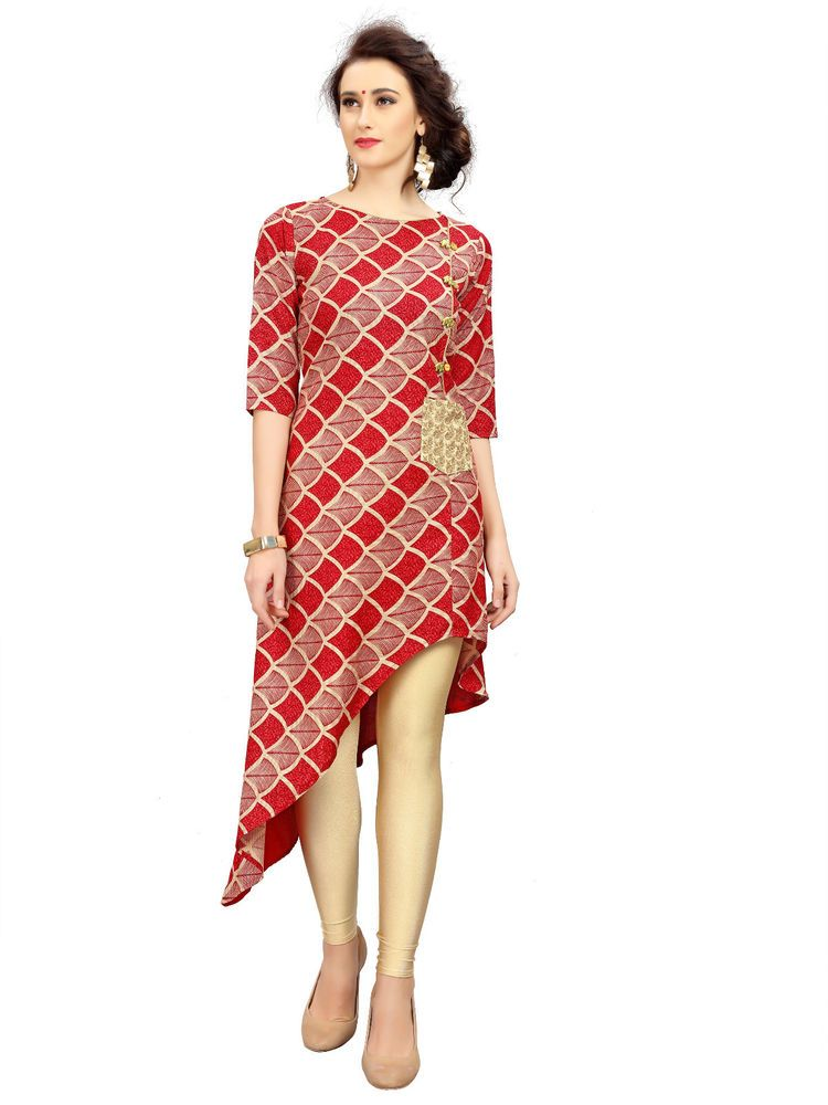 b2b21e8d1fa1a4 Indian Ethnic Fancy Kurta Kurti Tops Designer Red Rayon Stitched Printed  Tunics #RadhaKrishnaExports #Tunics #CasualWearPartyWear