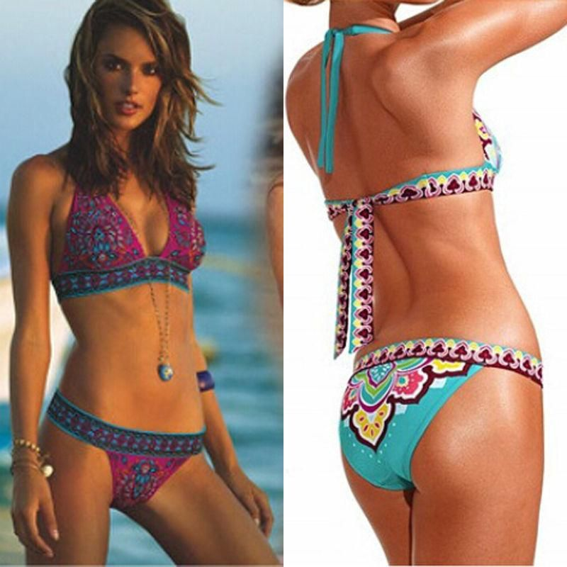 56fd0e7cde Brazilian Bikinis Set Women Sexy Floral Bandage Bikini Push-up Padded Bra  Swimsuit Bathing Suit