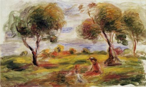 Landscape with Figures at Cagnes - Pierre-Auguste Renoir
