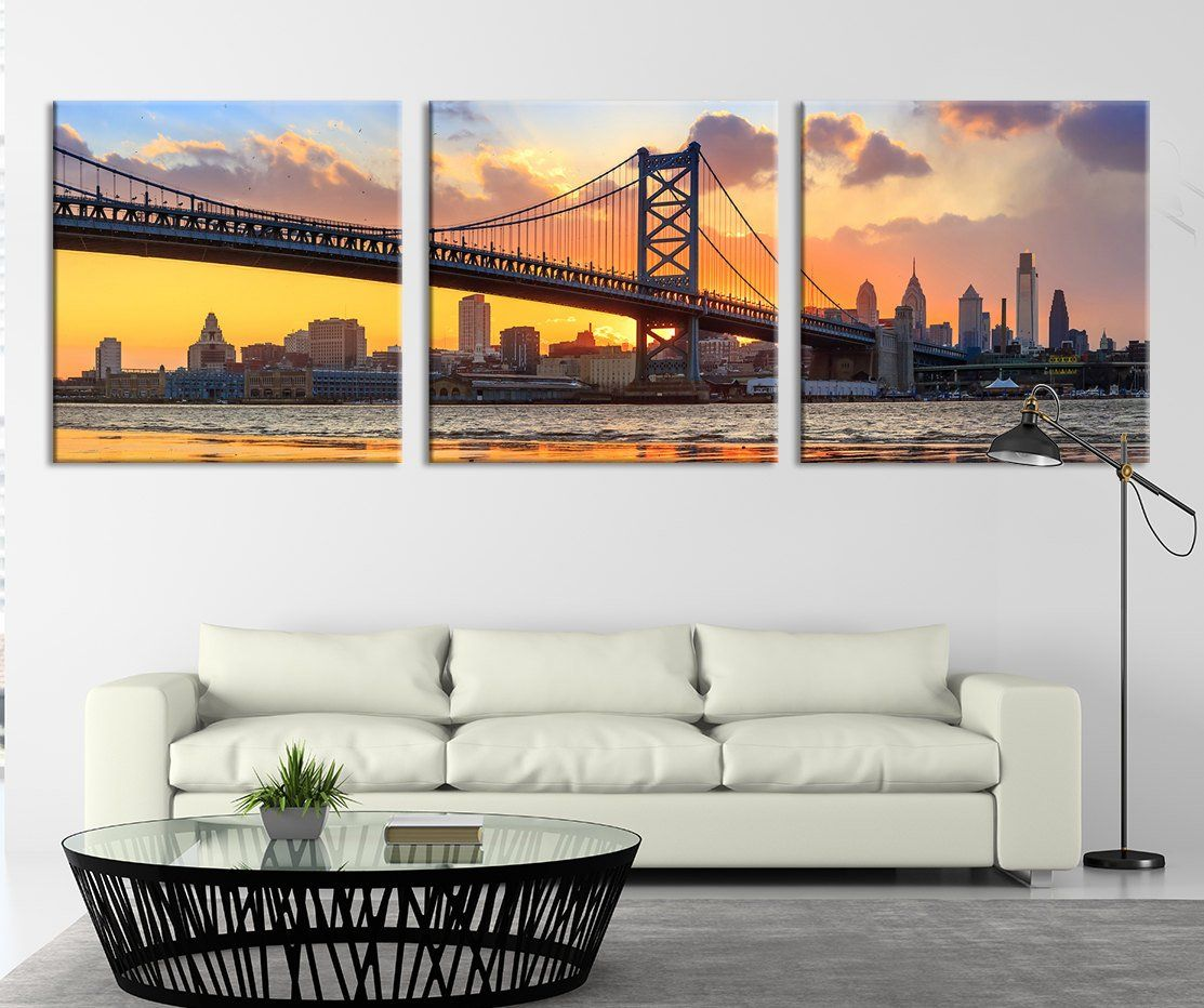 City Wall Art Triptych Philadelphia Ben Franklin Bridge Skyline Canvas Art Print Extra Large Philadelphia Suns Sunset Wall Art Canvas Art Prints City Wall Art