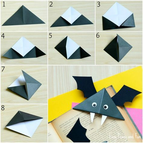 DIY Bat Corner Bookmarks - Halloween Crafts - Easy Peasy and Fun - how to make halloween decorations for kids