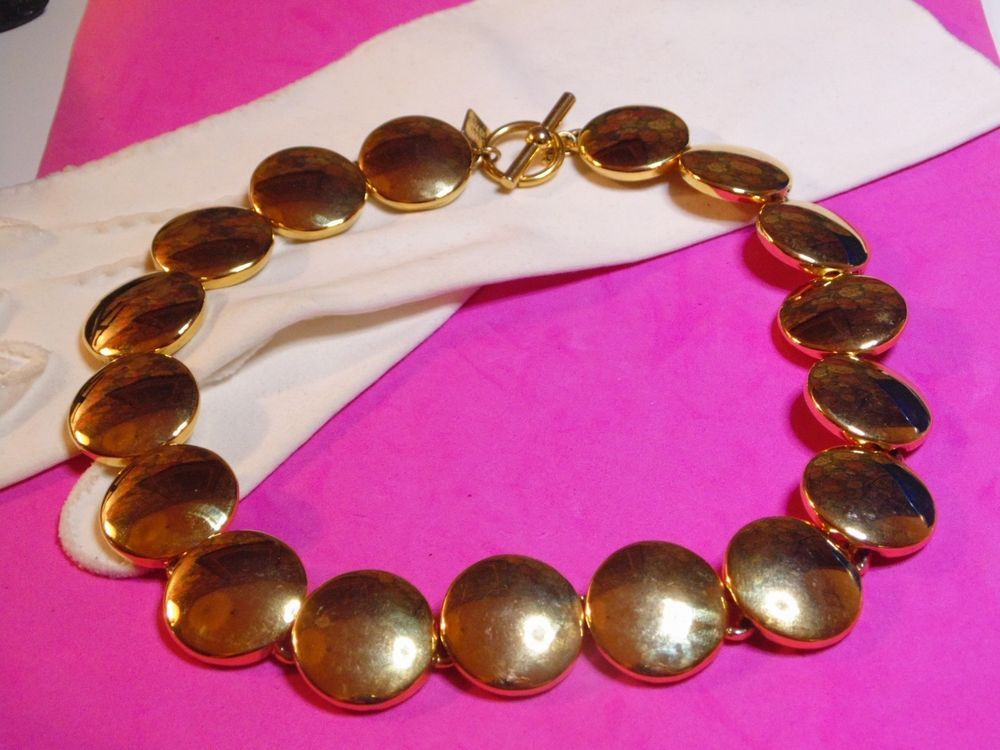 Vintage ANNE KLEIN Gold Tone Disk Style Collar Necklace - Signed