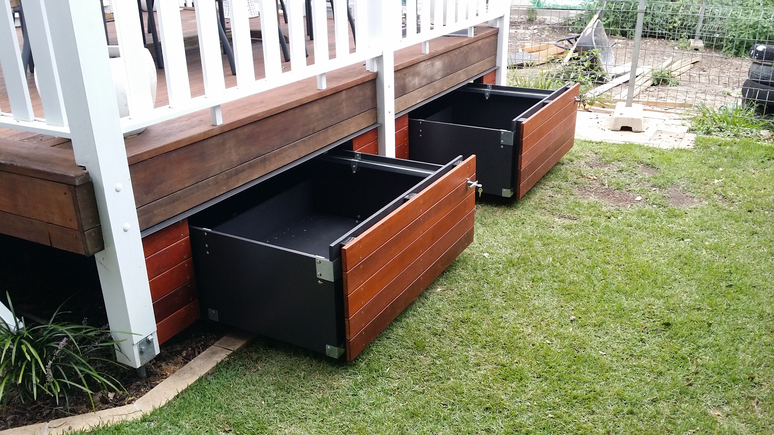 Storage Drawers That Match Your Existing Building Building A Deck Deck Storage Deck Design