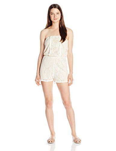 691eb79c736 Trixxi Juniors Sleeveless Lace Romper Natural Large    Read more reviews of  the product by visiting the link on the image.