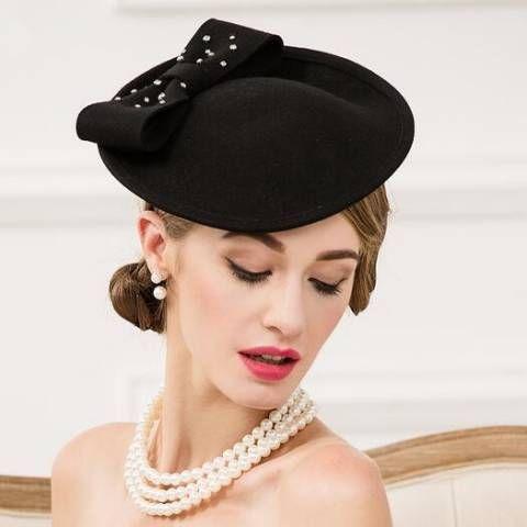 dd43ffe35b9bd Rhinestones bow occasion hats and fascinators for lady winter black felt  pillbox hats