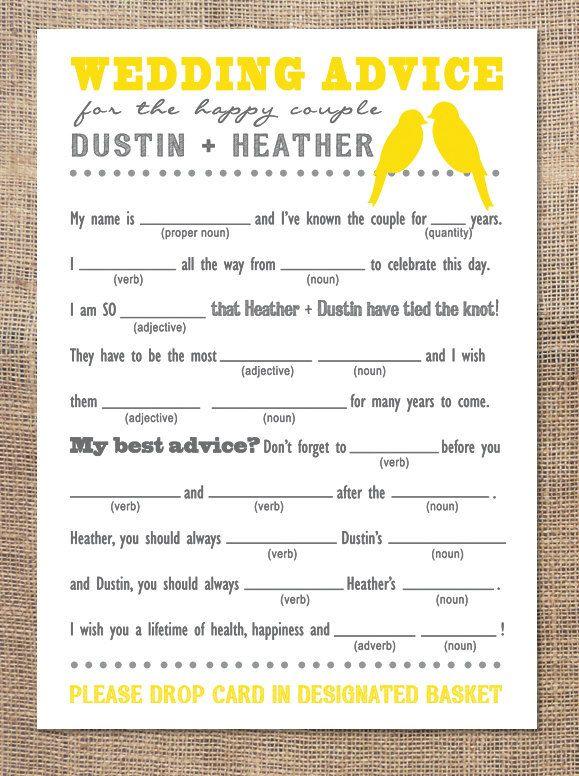 Wedding Advice Mad Libs 3 Wedding Advice Cards Wedding Advice Advice Cards