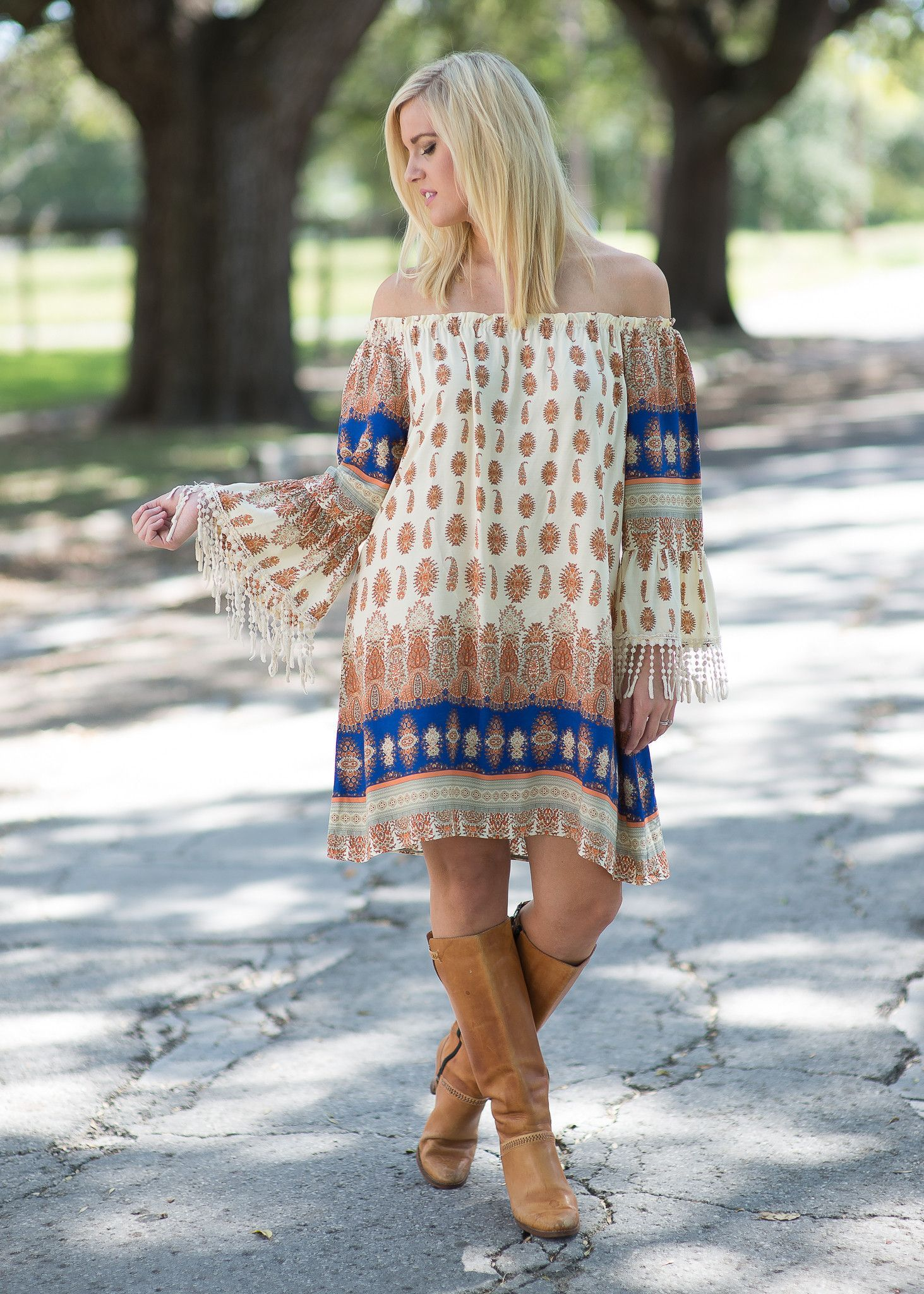 Run Away with Me Off Shoulder Dress
