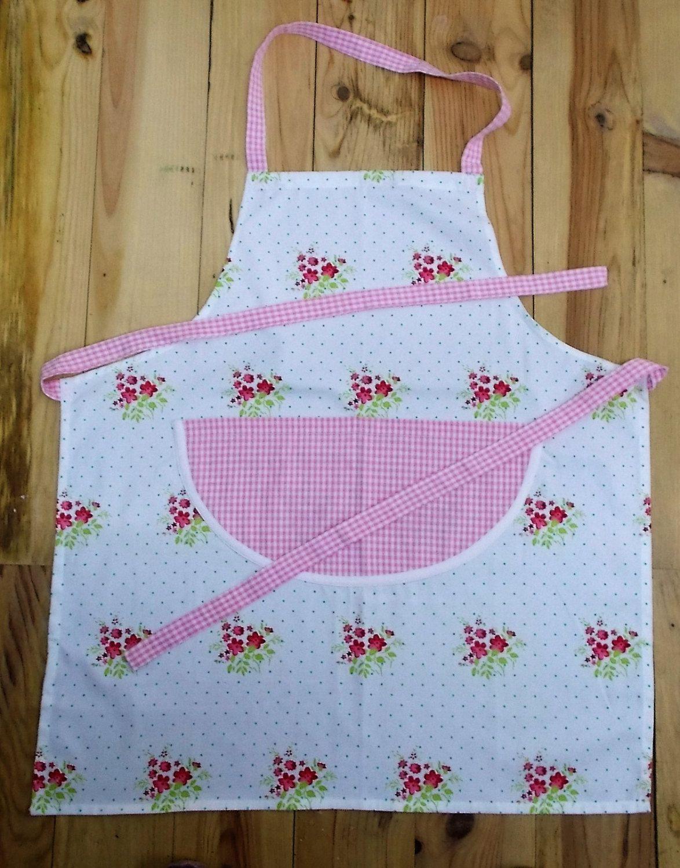 White apron ladies - Pink And White Gingham Apron Ladies Apron Cotton Fabric Large Double Pocket