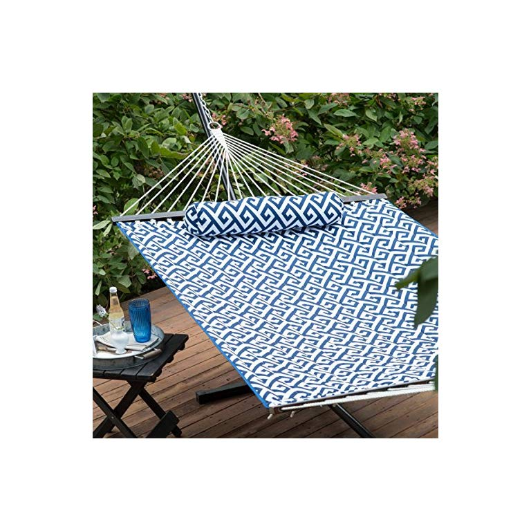 11 Ft Greek Key Quilted Hammock With Rust Resistant Tri Beam Steel Stand Powder Coated Finish Outdoor Blanket Hammock Stand Garden Furniture