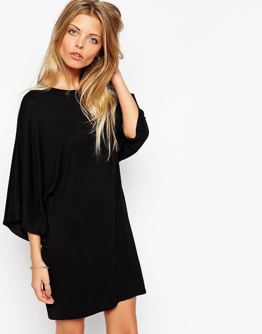 Black t shirt jersey dress - Asos T Shirt Dress With Kimono Sleeves