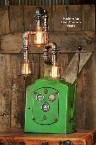 Steampunk lamp, Industrial Machine Age Lamp, Antique John