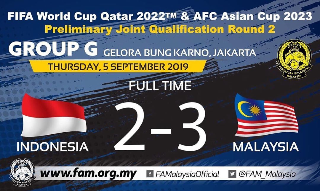 2022 World Cup 2023 Asian Cup Qualifiers I Thursday 5th September 2019 Full Time Indonesia 2 3 Malaysia Alberto Goncalves 12 39 Mohamadou World Cup Malaysia Thailand