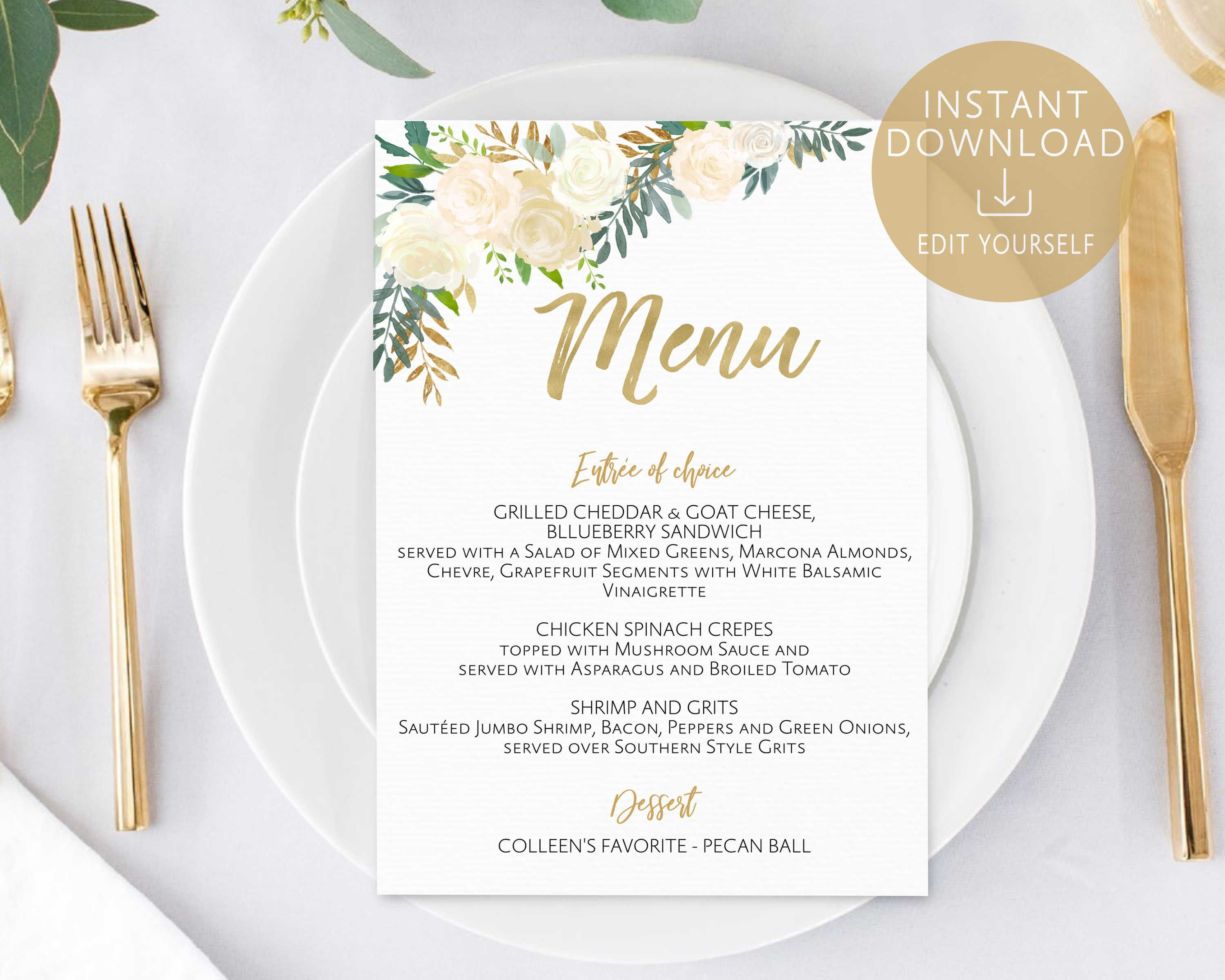 Menu Template Editable PDF Bridal Shower Baby Ivory White Gold Watercolor Flower Wedding Printable Dinner Card By