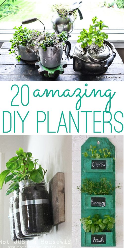 diy planters 20 amazing ideas you can make yourself pflanzen in der wohnung pinterest. Black Bedroom Furniture Sets. Home Design Ideas