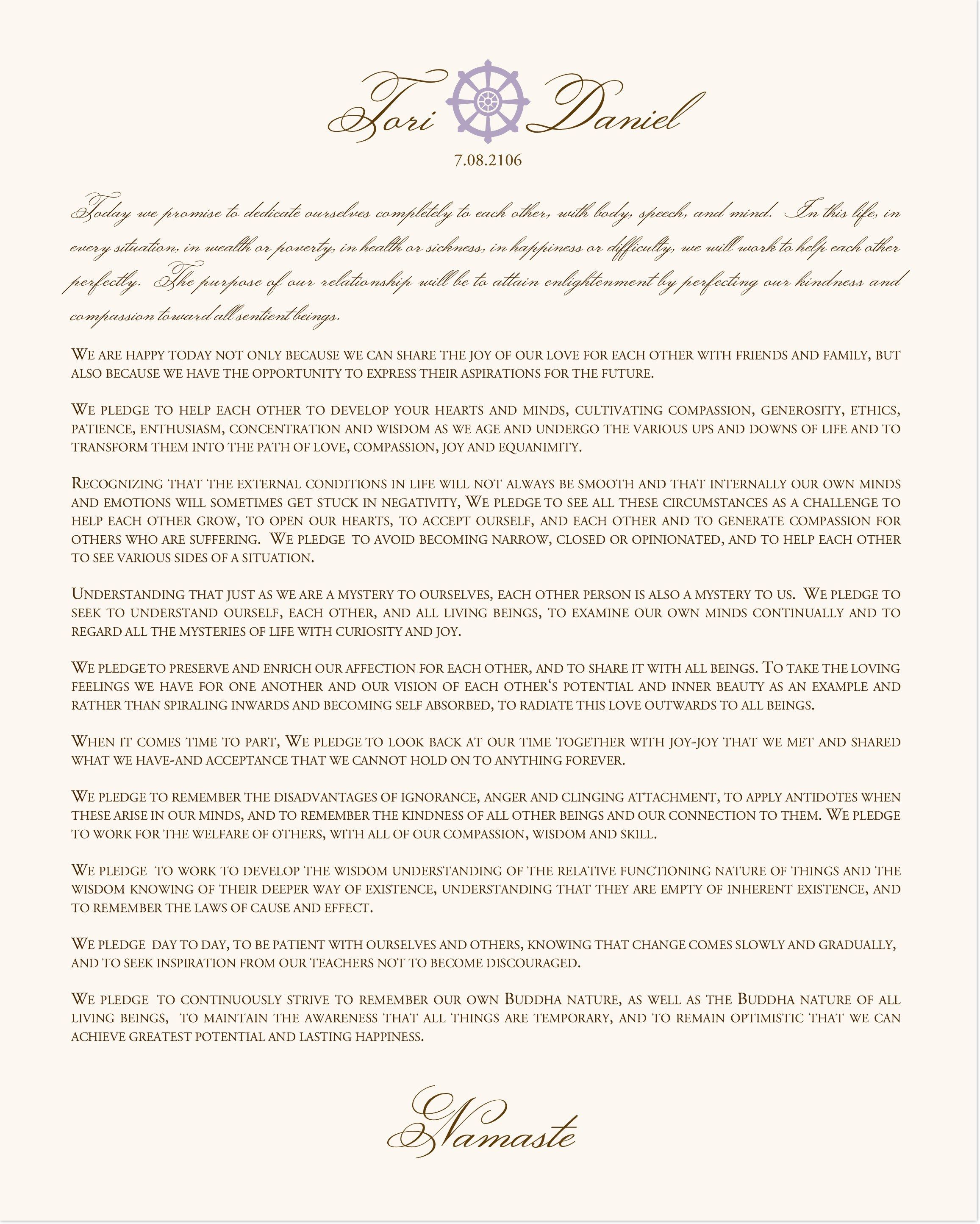 Buddhist Marriage Certificate For Buddhism Wedding Service With Interfaith Vows