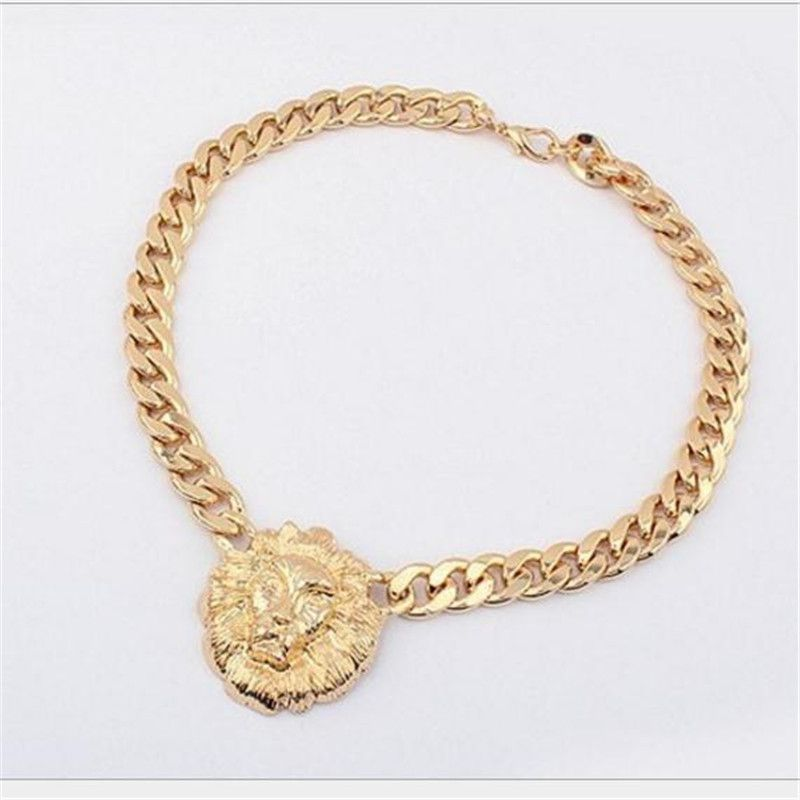 6b1e2b3514f7f4 Metal Chunky Unique Gold Plated Link Animal Lion Head Choker Necklace women  men jewelry cross necklaces men free shipping(China (Mainland))