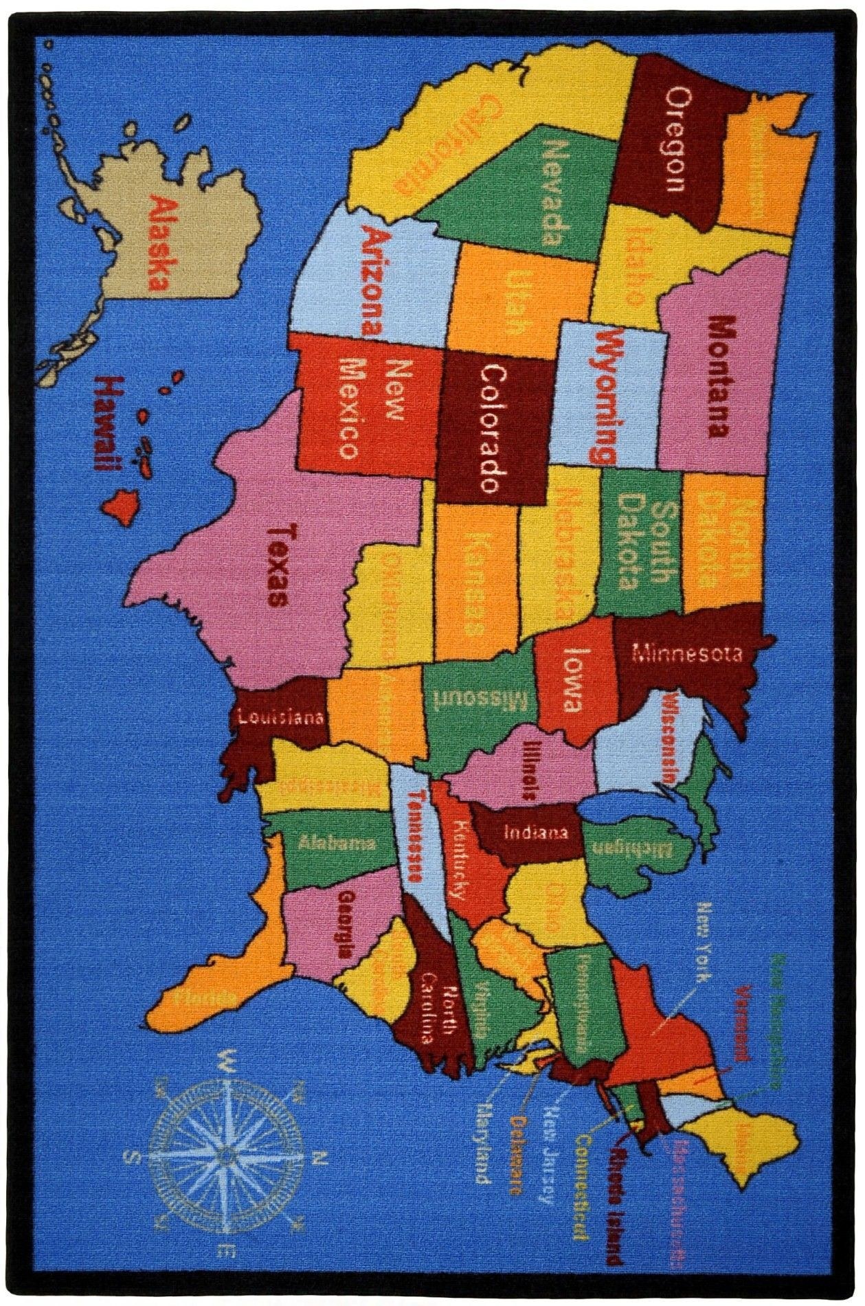 Bambino Kids Fun Time Educational United States Map Cities Blue Area