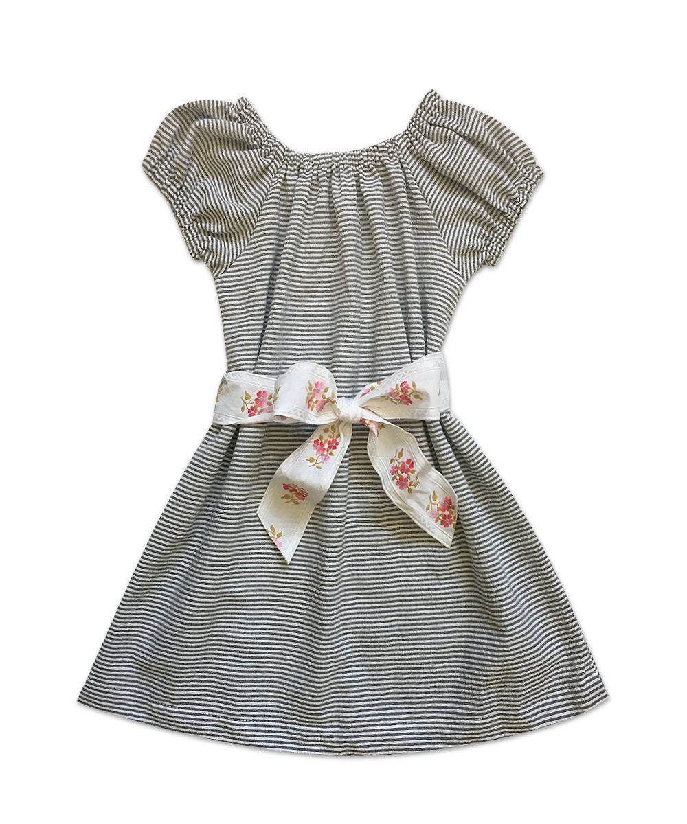 "Stella ""BOHO"" Style Dress in Grey and White Seersucker with Vintage Belt"