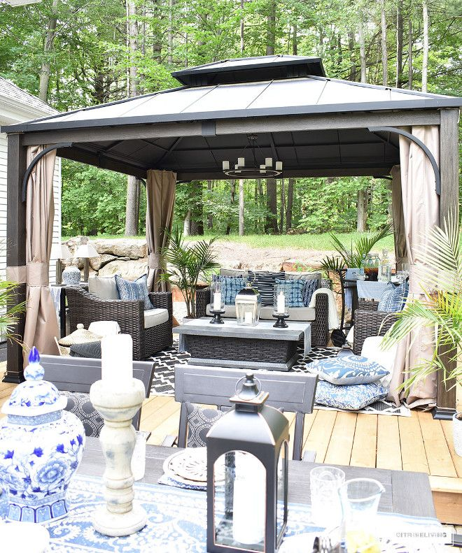 Outdoor Patio And Deck Entertaining Area Gazebo Lounge Set Outdoor