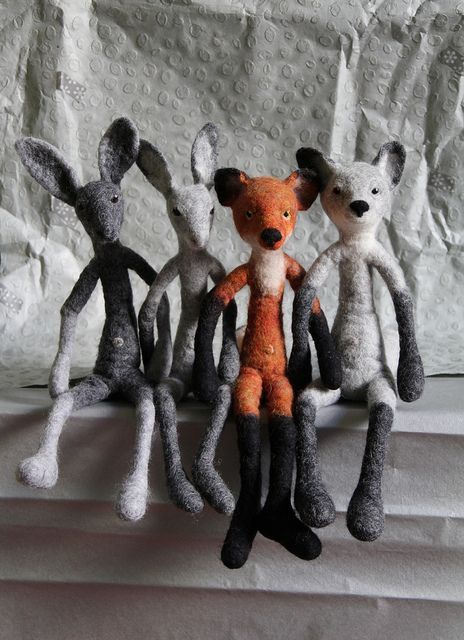 two hares & two foxes by swig - filz felt feutre, via Flickr:
