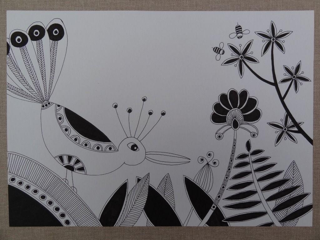 Dessin graphique zentangle noir et blanc oiseau fleurs a4 dessins par fleur de pluie idees - Dessin de fleure ...