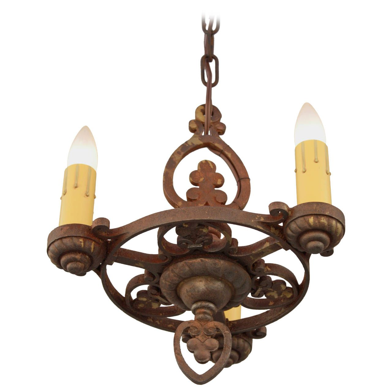 Small three light spanish revival chandelier circa 1920s spanish small three light spanish revival chandelier circa 1920s 1stdibs arubaitofo Gallery