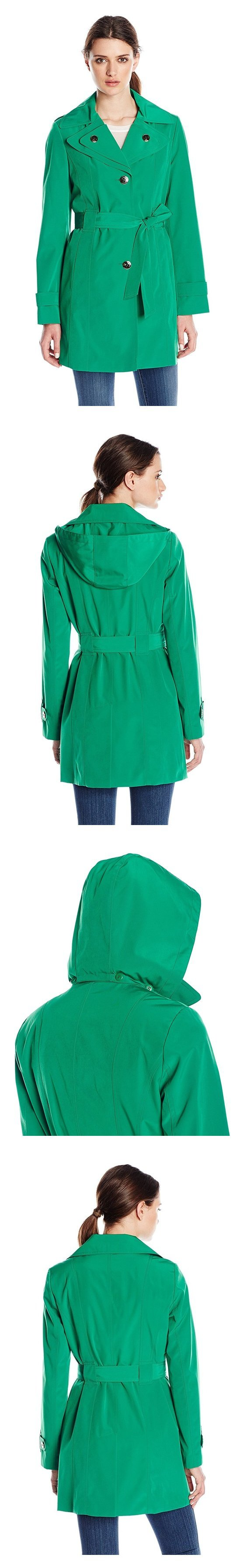 $72.5 - Calvin Klein Women's Single-Breasted Double-Collar Trench Coat Kelly Green #calvin #klein
