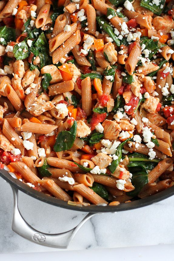 One Pot Whole Wheat Pasta With Chicken Spinach Recipe Chicken