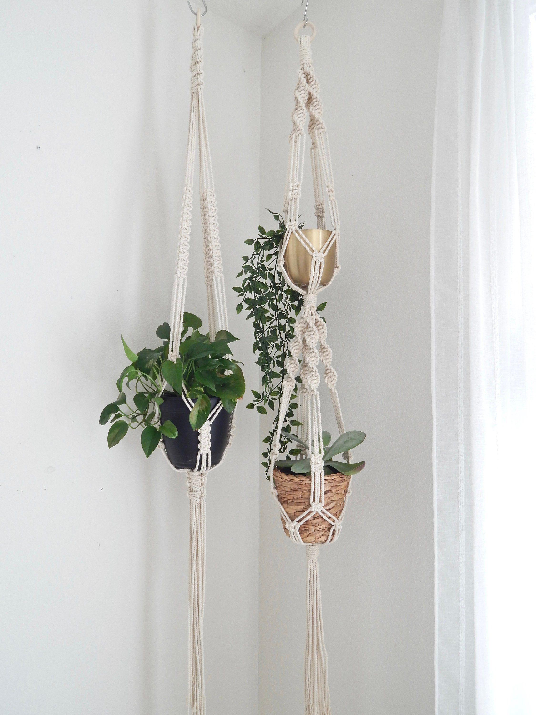 Long Macrame Plant Hanger Vertical