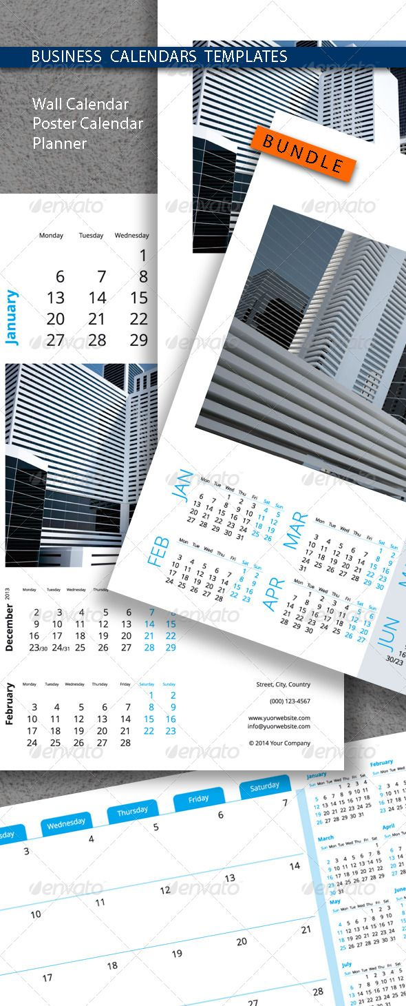 Business Calendars Templates Bundle    Business