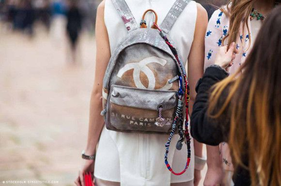 Chanel Printed Toile & Leather Backpack