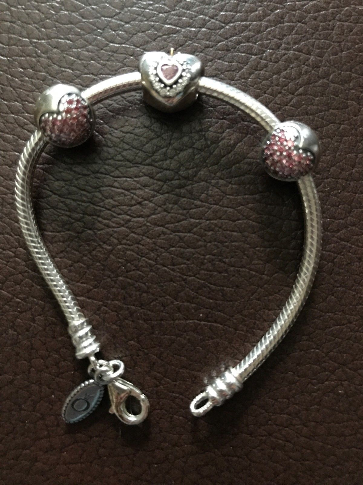 a2d6da75c 6 in Pandora Bracelet, Princess Heart Charm, 2 Fancy Pink Love of My Life  Clips