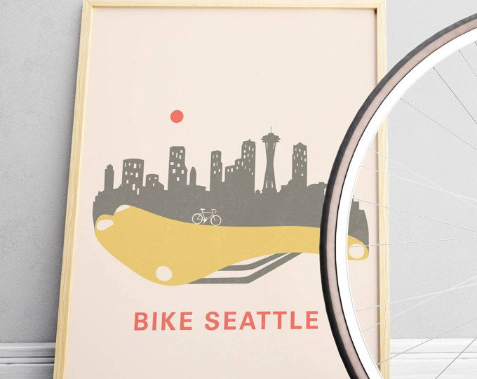 Mens Cyclist Gift Seattle Skyline