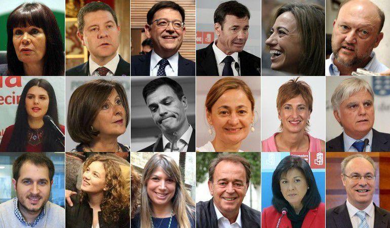 Los 17 miembros de la Ejecutiva del PSOE que han presentado su renuncia para derribar a Pedro Sánchez.