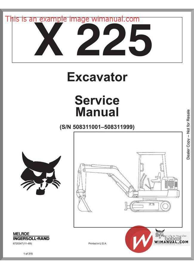 Bobcat X225 Excavator Service Manual Sn508311001 Repair Manuals Hydraulic Excavator Excavator