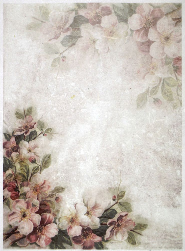 Rice Paper for Decoupage Scrapbooking Sheet Craft  Vintage Roses White