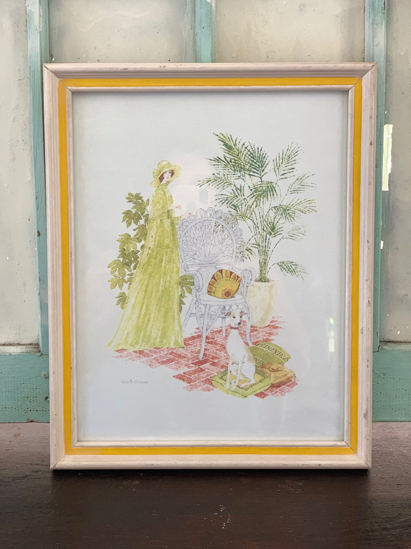 Watercolor Lithograph Vintage Gloria Eriksen Elegant Lady