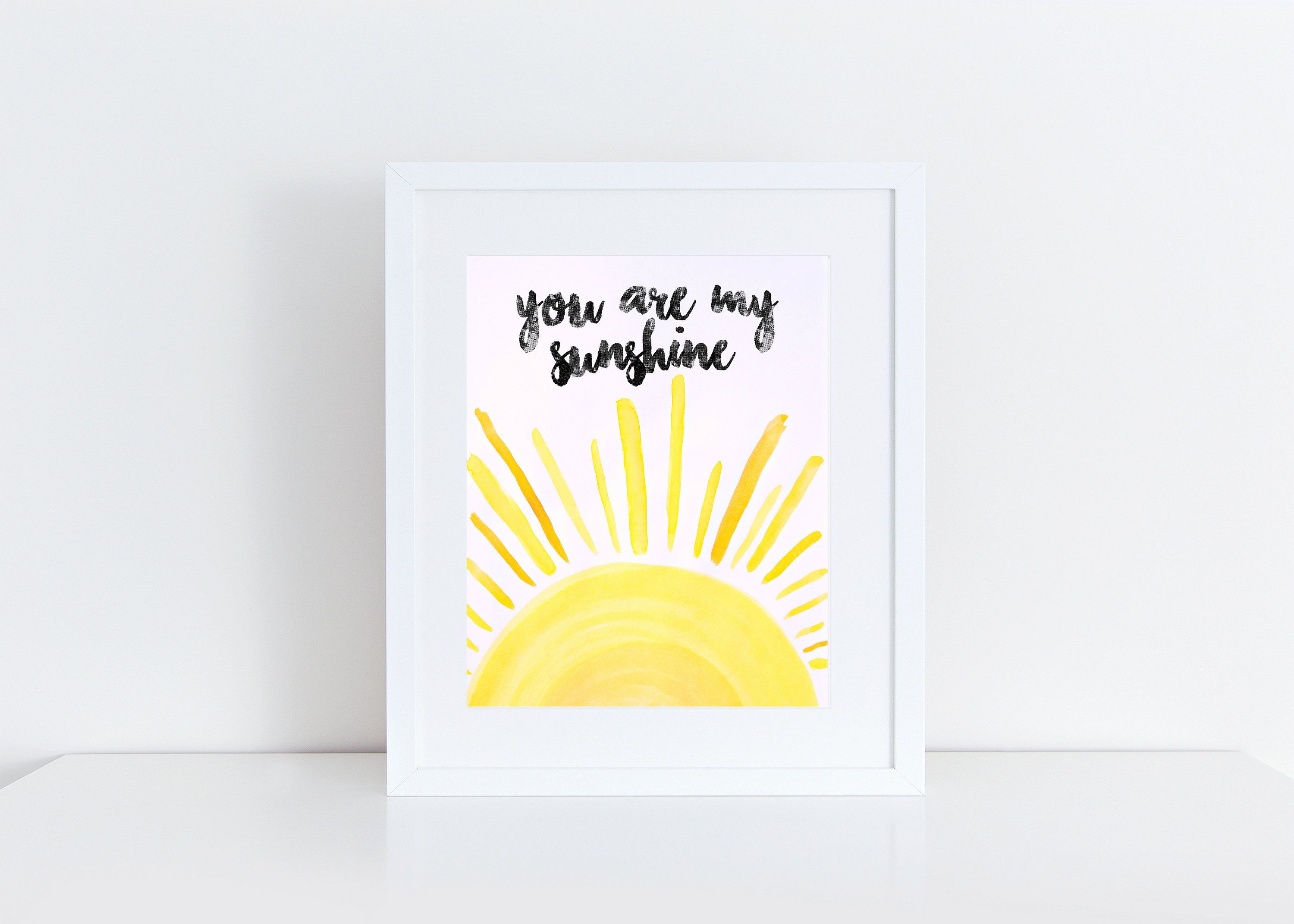Instant download you are my sunshine x watercolor print in
