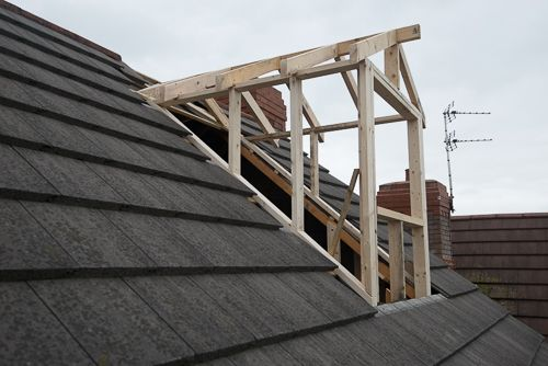 attic construction ideas - Outside view of dormer construction