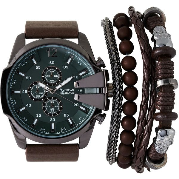 American Exchange Mst5475 Gunmetal Brown Watch Bracelet Set 20 Liked On Polyvore Featuring Men S Fashion Jewelry Watches White