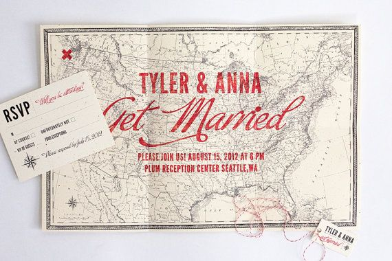 Map wedding invitations get guests in the right mindset for destination weddings.