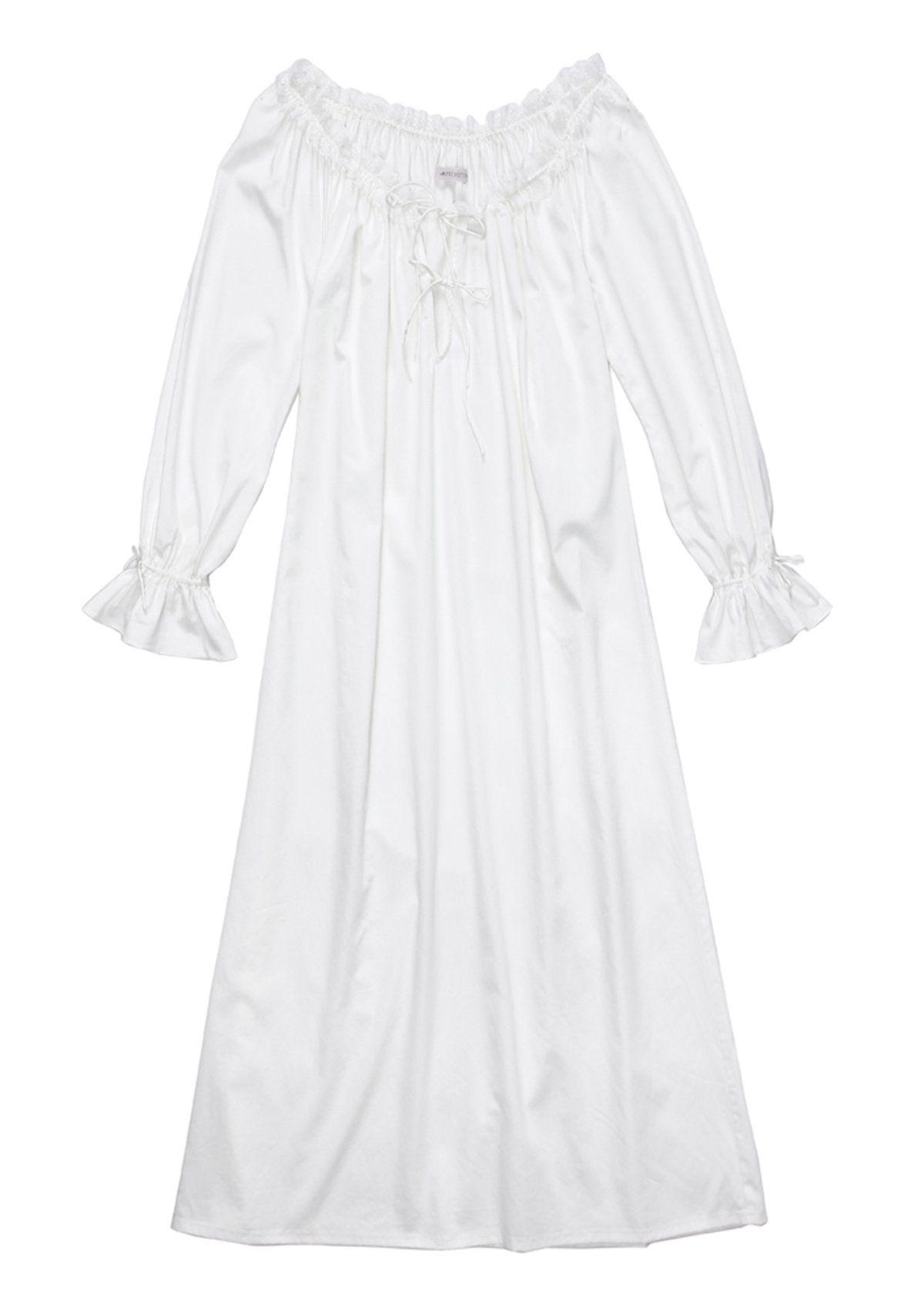Europäischen Stil Langarm Vintage Design Nachthemd Weiß ...