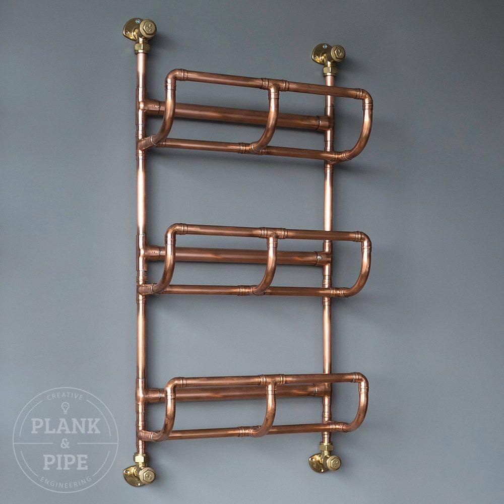 Copper Pipe Bathroom Towel Rack in an Industrial / Urban style. 3 ...