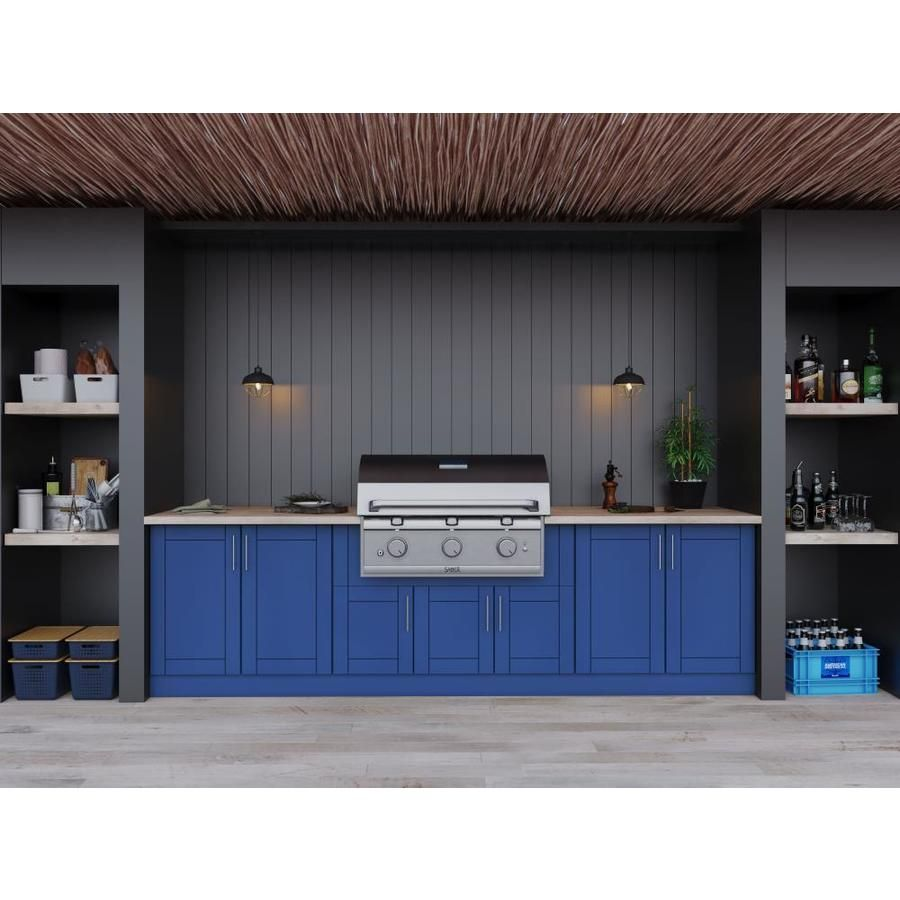 Weatherstrong 120 In W X 34 5 In H X 27 In D Reef Blue Door Base Semi Custom Cabinet Lowes Com Outdoor Kitchen Cabinets Modular Outdoor Kitchens Semi Custom Cabinets