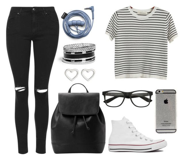 """Untitled #165"" by anaj-7 on Polyvore featuring GUESS, Chicnova Fashion, Topshop, MANGO, Converse and Marc by Marc Jacobs"