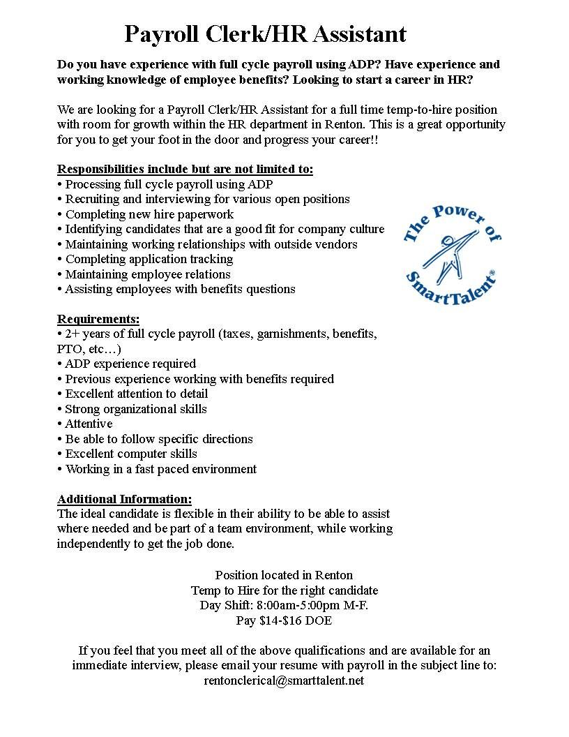 We are looking for a Payroll Clerk/HR Assistant for a full time temp ...