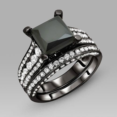 black engagement ring for women black cubic zirconia princess cut wedding ring set - Womens Black Wedding Rings