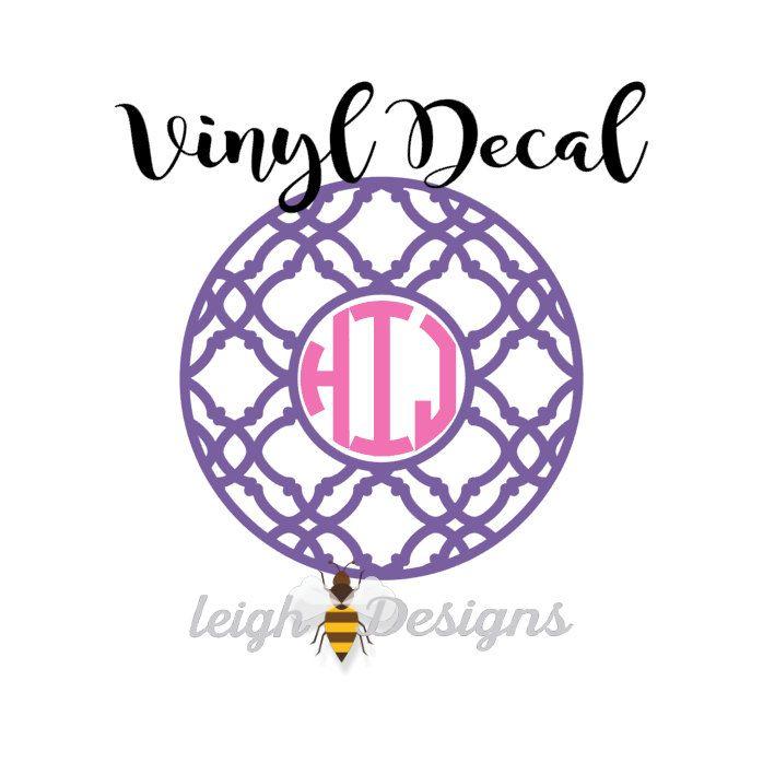 Circle Monogram Decal Ornate Monogram Decal Car Decal Vinyl - Circle monogram car decal