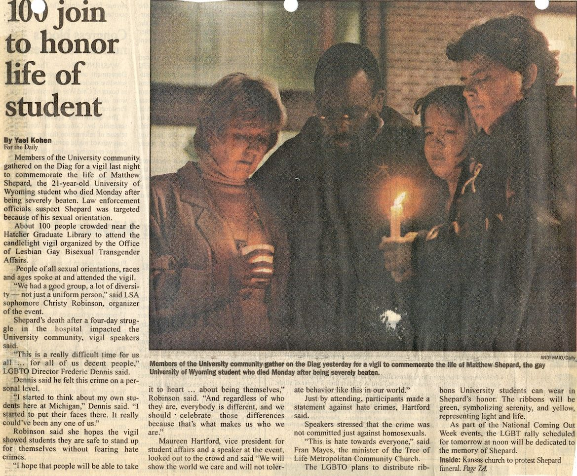 newspaper article about candle light vigil for matthew shepard candles