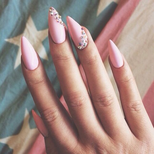 Pink Stiletto Rhinestone Nails Pictures Photos And Images For